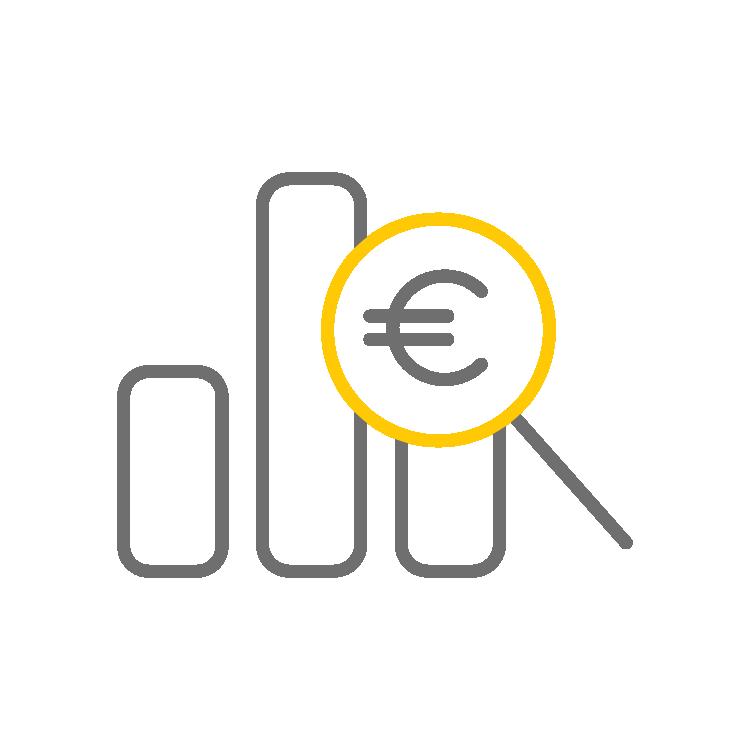 picto représentatnt une courbe en euros