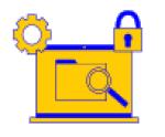 Picto d'un document archivé dans un ordinateur et sécurisé avec un cadenas
