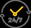 picto d'un horloge 24heures sur 24 et 7jours sur 7